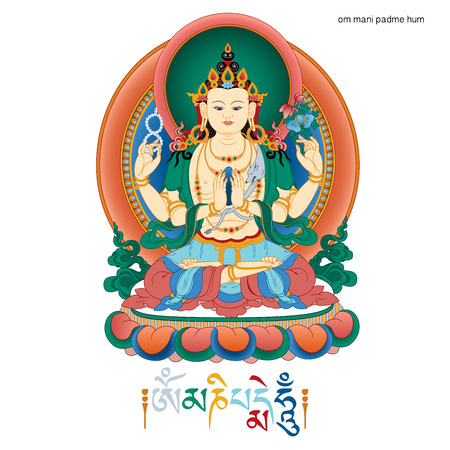 Vector illustration with  Bodhisattva Avalokiteshvara and mantra OM MANI PADME HUM.  Bodhisattva who embodies the compassion of all Buddhas. A symbol of the Tibetan Buddhism. Buddha. Color design.