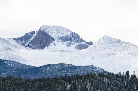 Close-up image of Long s Peak after a snowstrom, Rocky Mountain National Park, Colorado