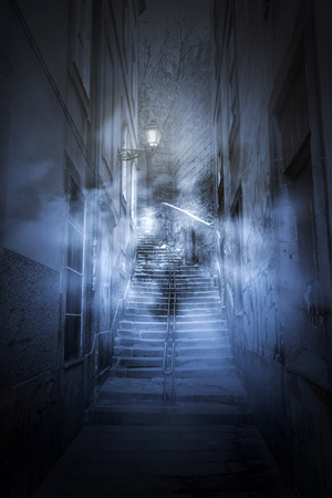 European old alley at night, in fog and scary