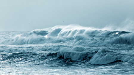 Big waves approaching the Portuguese coast in a stormy and misty day