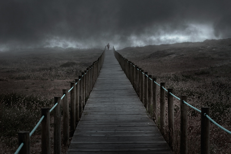 Dramatic dark wooden walkway over a foggy dune in an overcast evening. Used some digital filters.