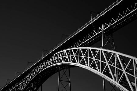 Photo pour Old iron bridge over Douro river, Porto. Used infrared filter. - image libre de droit