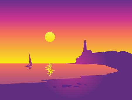 Foto de Beautiful seascape with lighthouse and sailboat - Imagen libre de derechos