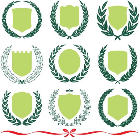 Insignia designs set – shields, laurel wreaths and ribbons. Vector illustrations isolated on white background