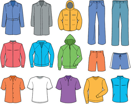 Men casual clothes and sportswear illustration