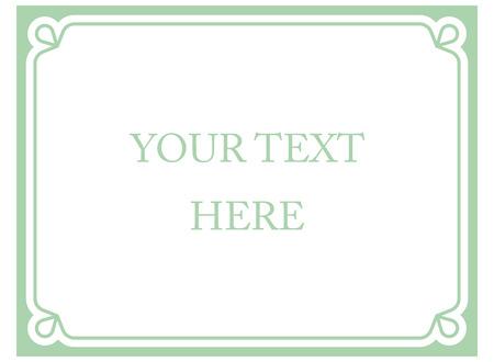 Ilustración de Green mint horizontal border frame deco. Vector art simple line corner signboard - Imagen libre de derechos