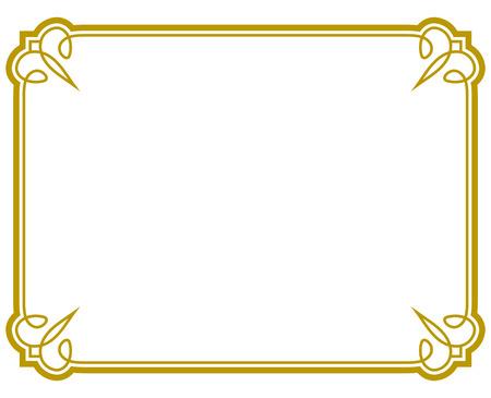 Ilustración de Yellow gold border frame deco vector art simple line corner - Imagen libre de derechos