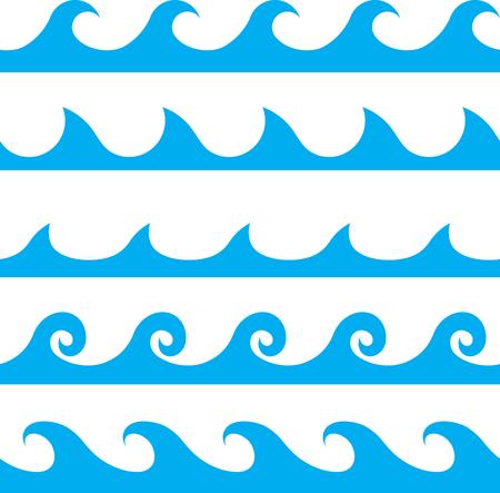 Ilustración de Seamless vector blue wave line pattern - Imagen libre de derechos