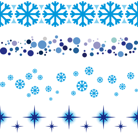Illustration pour Christmas and New Year seamless ribbon decorations for shop windows etc. Seamless frame rule lines. - image libre de droit