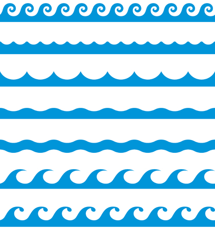 Illustration pour Water waves seamless border line patterns - image libre de droit