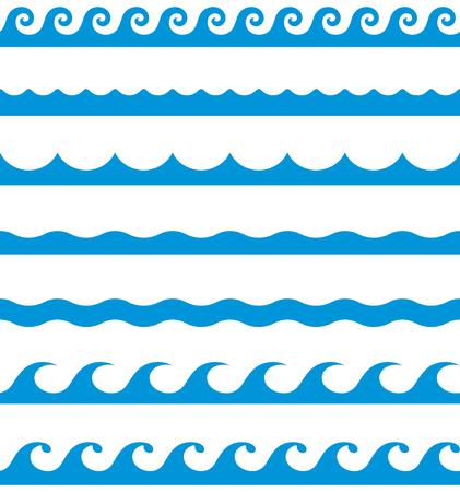 Ilustración de Water waves seamless border line patterns - Imagen libre de derechos