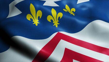 Photo pour 3D Waving France Department Coat of Arms Flag of Eure et Loir Closeup View - image libre de droit
