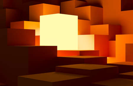 Photo for leadership and uniqueness concept. one different glowing cube among other identical orange cubes. 3D render. - Royalty Free Image
