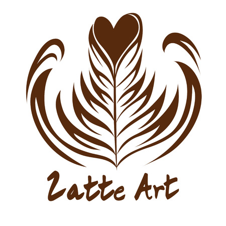 Heart Rosetta Coffee Latte art  , Icon, Symbol with white background