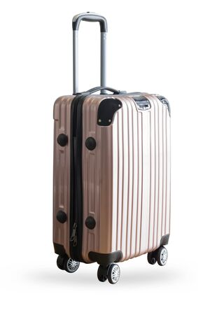 Photo pour Pink traveler suitcase isolated on white background - image libre de droit