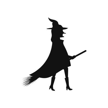 Illustration pour silhouette of a witch on a broomstick on a white background vector illustration - image libre de droit