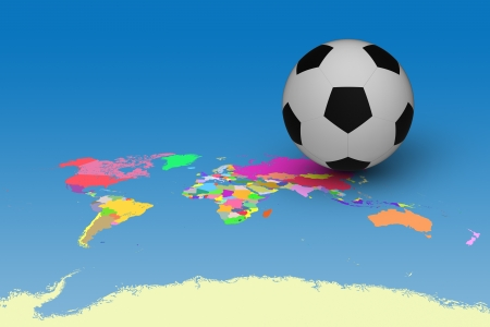 3D model of football on World and countries map