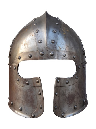 Photo for Isolation Of The Helmet Of A Medieval Suit Of Armour On A White Background - Royalty Free Image