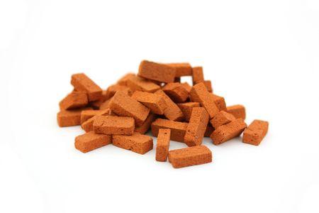 Big pile of bricks isolated