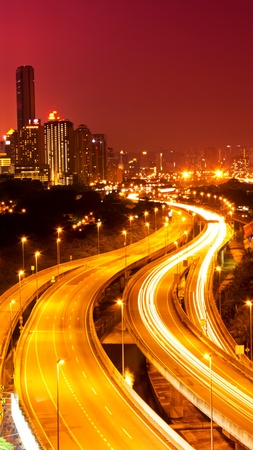 Kuala Lumpur city with stunning light trail from the busy highway traffic