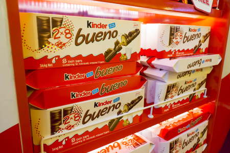 SEPANG,MALAYSIA - JANUARY 14,2017: Kinder Bueno displayed on shelves at marketplace Kuala Lumpur International Aiport. Kinder Bueno is a chocolate bar made by Italian confectionery maker Ferraro.