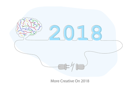 2018 creative thinking and inspiration concept with brain and electric plug.