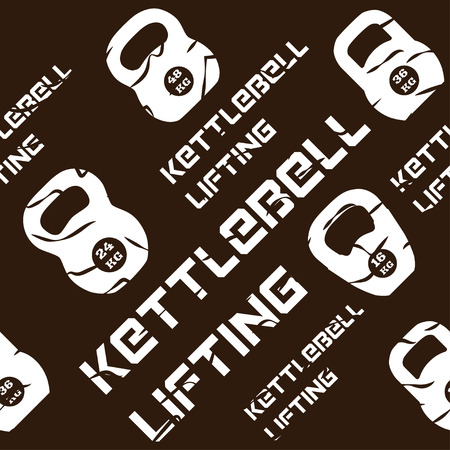 Kinesio tape horizontal seamless pattern or background. kettlebell lifting brown grunge design elements, textile