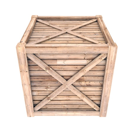 image on a white wooden container, isolated background