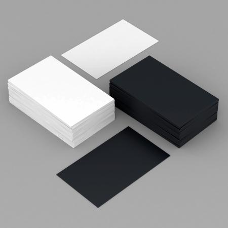 Photo pour Business cards blank mockup - template - gray background - image libre de droit