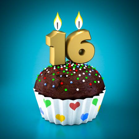 Birthday cupcake on a blue background