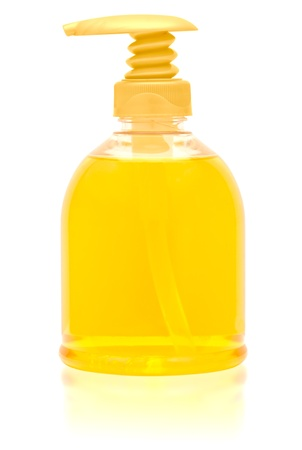 Dispenser bottle of liquid soap. Clipping path included.