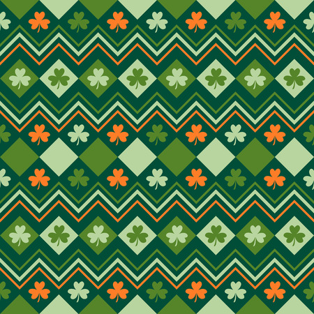 Illustration pour Irish green and orange seamless pattern with shamrock leaves - image libre de droit