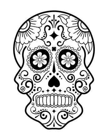 Illustration pour Black and white sugar skull - image libre de droit