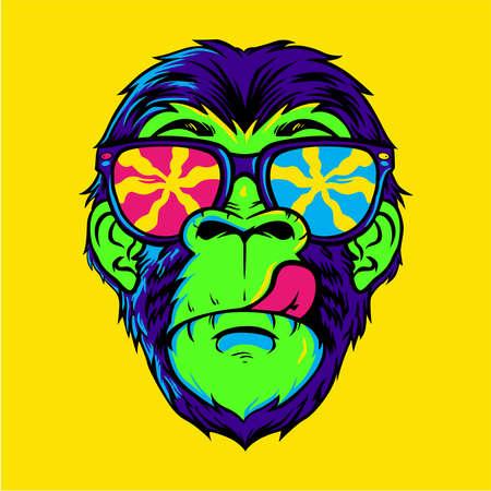 Illustration pour Dope colorful monkey wearing sunglasses design - image libre de droit