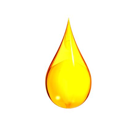 Isolated rendering of a drop of gasoline.