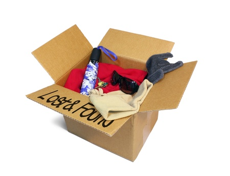 Cardboard lost and found box isolated on white