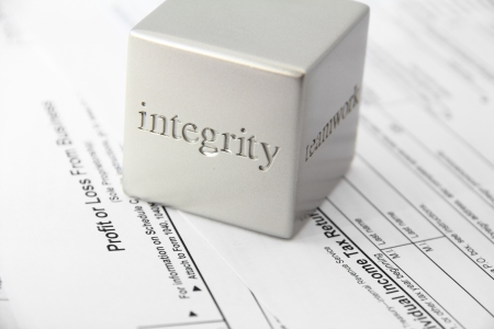 Concept for honesty and integrity in tax preparation
