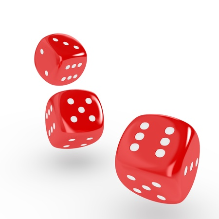 Three red dice on white background  Computer generated image