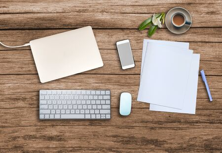 Photo pour Top view. Office wooden desk with smartphone, hot coffee cup, paper, pencil, notebook, keyboard, mouse and copyspace for text. - image libre de droit
