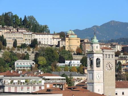 Bergamo - Old city (Citta Alta). One of the beautiful city in Italy. Lombardy. Landscape on the old city During a wonderful blue day