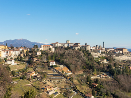 Bergamo - Old city (Citta Alta). One of the beautiful city in Italy. Lombardy. Landscape from the hills During a beautiful winter day with blue sky.