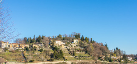 That view of the hills surround Bergamo During a day with clear blue sky, Orobie area, Lombardy, Italy