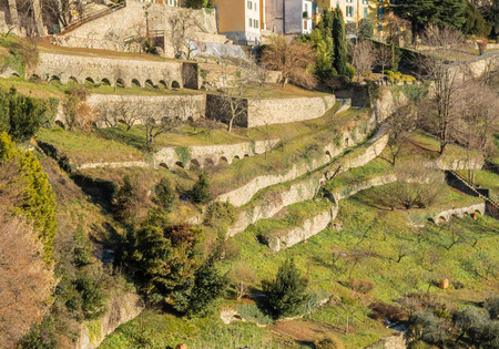 Bergamo - Old city (Citta Alta). One of the beautiful city in Italy. Lombardy. Landscape of dry stone walls and terraces situated in the hills surrounding the old city.