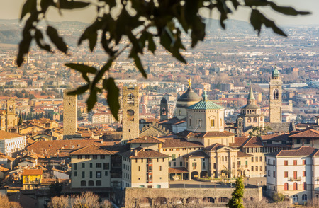 Bergamo - Old city (Citta Alta). One of the beautiful city in Italy. Lombardy. Landscape of the old city from San Vigilio hill During a beautiful day.