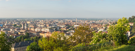 Bergamo, Italy. Landscape on the New Town and Po Valley from the Upper Town