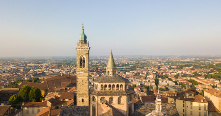 Bergamo, Old city. Drone aerial view of domes and summits of church bells