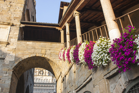 Bergamo - Old town. Landscape on the ancient Administration Headquarter called Palazzo della Ragione and the clock tower called Il Campanone