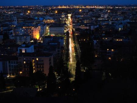 Bergamo, Italy, November 19, 2017. Night landscape on the new city (downtown)