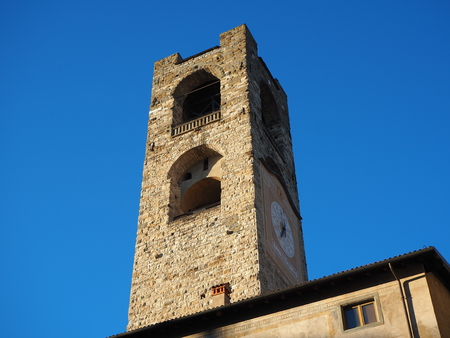 Bergamo - Old town. Landscape on the clock tower called The Campanone