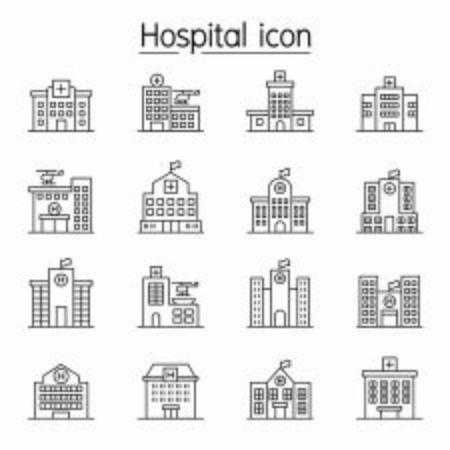 Photo pour Hospital building, Medical center icon set in thin line style - image libre de droit